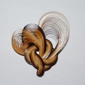 Vintage wooden heart brooch